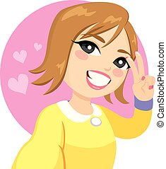 Selfie Smile Woman Victory Sign