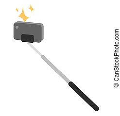 Selfie stick vector icon illustration. Selfie stick isolated...