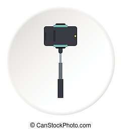 Selfie stick with photo camera icon, flat style