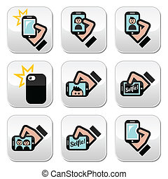Selfie, taking photos with smartpho - Vector icons set of...