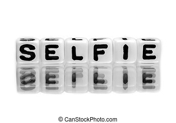 Selfie text message on white.