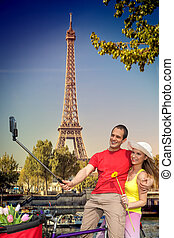 selfie, toren, eiffel, parijs, paar, frankrijk, boeiend