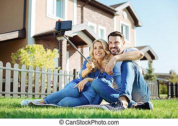 selfie, ubytovat se, dvojice, jejich, čerstvý, roztomilý, dobytí