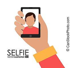 selfie, vecteur, conception, illustration.