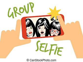 selfie, vecteur, groupe, illustration
