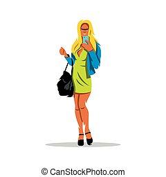 selfie, vecteur, illustration., girl, dessin animé