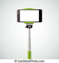 selfie, vecteur, monopod, front.