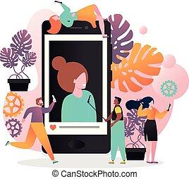 Selfie vector concept for web banner, website page