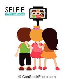 selfie, vector, diseño, illustration.
