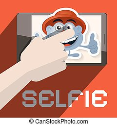 Selfie Vector Illustration with Hand and Avatar
