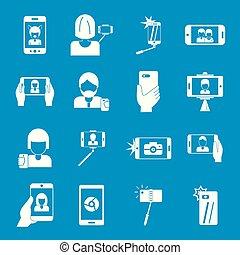 Selfie video photo people icons set, simple style