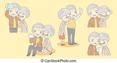 selfie, vieux, couple, dessin animé