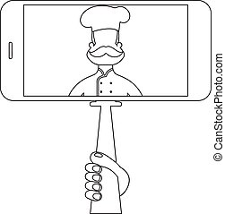 Selfie with chef in style monoline. Vector illustration