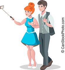 Selfie woman and man isolated