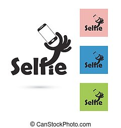 Selfie word logo elements design.Taking selfie portrait photo on smart phone concept icon. Selfie concept design element.