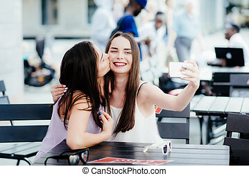 selfies, café, niñas, marca, resto