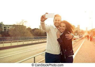 selfies, couple, amour, prendre