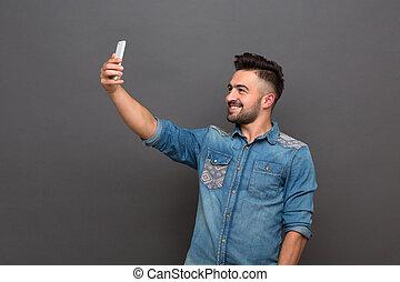 selfies, elaboración, guapo, hipster, hombre