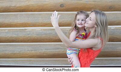 selfies, prendre, fille, mère