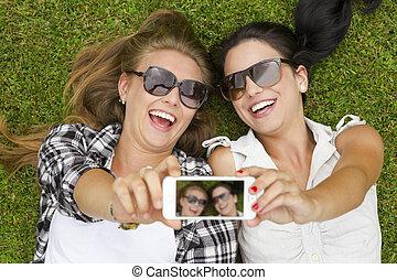 selfies, toma, amigos, mejor