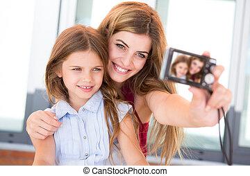 selfies, toma, niñas