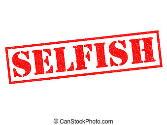 SELFISH red Rubber Stamp over a white background.