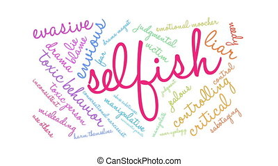 Selfish Word Cloud - Selfish word cloud on a white...