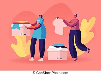 Selfless Kind Women Volunteers in T-shirts with Emblem of Charity Organization Collecting Clothes for Beggars Living on Street. Girl Carry Box with Donated Dressing. Cartoon Flat Vector Illustration