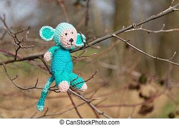 Selfmade stuffed monkey in tree - crocheted selfmade monkey...