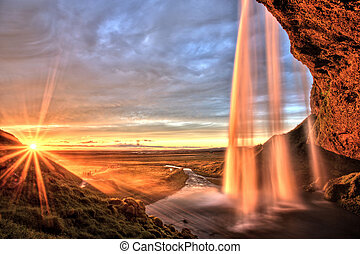 seljalandfoss, cascata, a, tramonto, islanda