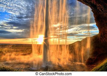 seljalandfoss, vandfald, hos, solnedgang, ind, hdr, island