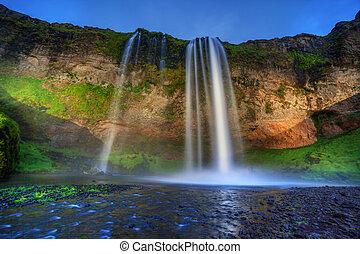 Seljalandfoss waterfall.