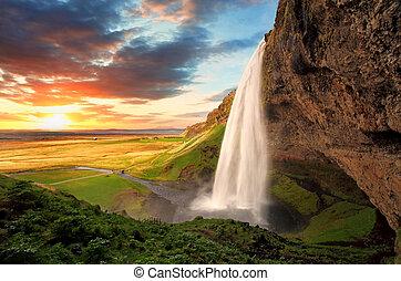 seljalandsfoss, chute eau, -, islande