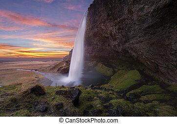 seljalandsfoss, vodopády, dále, ta, island