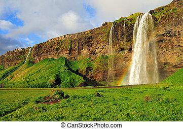 Seljalandsfoss Waterfall, Iceland - Seljalandsfoss Waterfall...