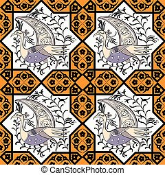 Seljuk style Iznik seamless pattern - Seljuk-Turkish style...