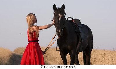 sellé, cheval, campagne, mener, jeune, long, fille noire, ...