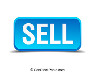 Sell blue 3d realistic square isolated button