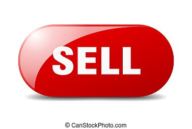 sell button. sticker. banner. rounded glass sign
