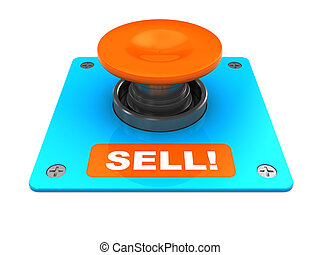 sell button - 3d illustration of button with caption 'sell',...