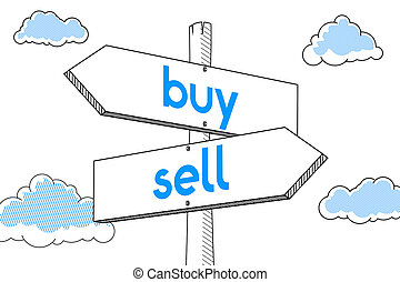 Sell, buy - signpost, white background