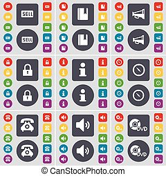 Sell, Dictionary, Megaphone, Lock, Information, Compass, Retro phone, Sound, DVD icon symbol. A large set of flat, colored buttons for your design. Vector