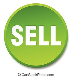 sell green round flat isolated push button
