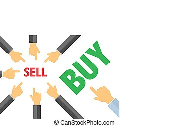 sell or buy - contracyclical trend concept , buying selling...