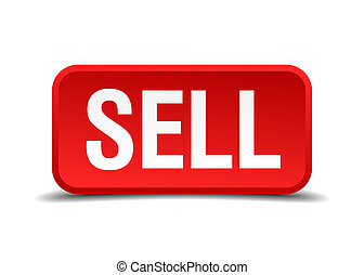 Sell red 3d square button isolated on white