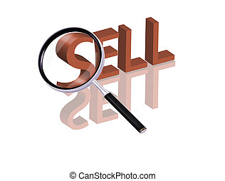 sell search - Magnifying glass enlarging part of red 3D word...