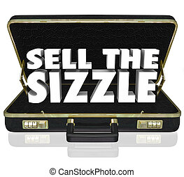 Sell the Sizzle 3d Words Briefcase Sales Presentation Benefits W