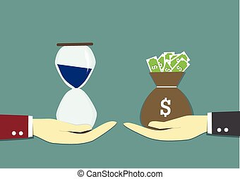a businessman carry sack of money to exchange with hourglass.