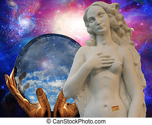 Sell - Venus has price tag with nebulous starry background...