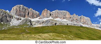 Sella massif in Dolomites mountains seen from Passo Pordoi, Italy